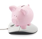 Online banking. Piggy bank and computer mouse