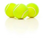 Three Tennis Balls with Slight Reflection Isolated on a White Background.