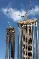 Construction site, construction of high-rise buildings in the city centre of Abu Dhabi, United Arab Emirates, Middle East
