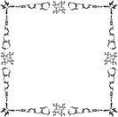 Black and white art nouveau floral frame