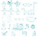 Doodles, cartoon outlines characters over white background, easy to edit, fill with color.