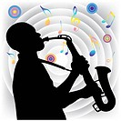 Vector silhouette of saxophone player on the background of gray folds. Image contains gradient mesh.