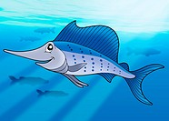 Sailfish in sea _ color illustration.