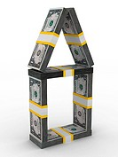 house from money on white background. Isolated 3D image