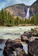 The thundering waters of Takakkaw Falls in Yoho National Park in British Columbia Canada. This popular tourist attraction features the turqouise blue ...