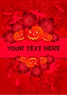 Halloween Frame with pumpkin, element for design, vector illustration