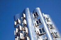 Neuer Zollhof buildings by American architect Frank Owen Gehry, on the Medienhafen port in Duesseldorf, North Rhine_Westphalia, Germany, Europe