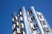 Neuer Zollhof buildings by American architect Frank Owen Gehry, on the Medienhafen port in Duesseldorf, North Rhine-Westphalia, Germany, Europe