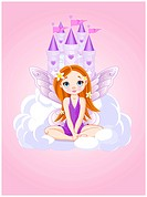 Illustration of cute violet little fairy a Fairy Tale Castle. All layers are separated