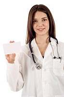 Friendly doctor with a blank card, isolated over white