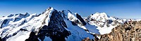 View from Piz Morteratsch Mountain towards Piz Roseg and Piz Bernina Mountains, and Bianco Ridge, Bernina Range, Grisons, Switzerland, Europe