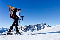 Skier ascending to Uribrutto through Passo Valles, Cima Bocche Mountain in the distance, Trentino, Italy, Europe