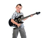Little musician playing guitar. Isolated on a white background