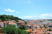beautiful landscape view of Lisbon Castle and 25th April Bridge