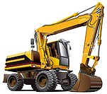 Detailed vectorial image of light_brown wheeled excavator, isolated on white background. File contains gradients, not blends and strokes