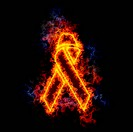 Aids ribbon, covered in flames.