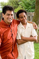 African American teenage son with Hispanic father