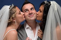 Two brides on man