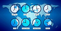 Conceptul image of time zones, clocks with different times and names of cities on a blue map of the world