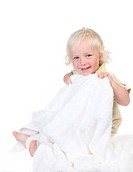 Happy Kid Holding a Bath Towel Smiling on White
