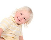 Happy Smiling Toddler Looking While Leaning Over