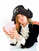 a pirate holding a piggybank isolated on white