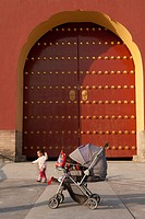 Baby carriage in front of a gate at the Temple Of Heaven, Beijing, China
