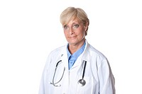 Studio portrait of mature Caucasian female doctor with a stethoscope on white background