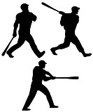 illustration of a Baseball player batting silhouette
