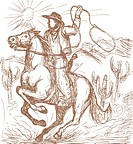 illustration of a Cowboy with lasso riding a horse