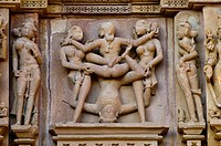 Erotic sculptures, Khajuraho Group of Monuments, UNESCO World Heritage Site, Madhya Pradesh, India, Asia