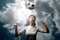 female soccer or football player training