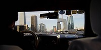 City viewed through a car, Beijing, China