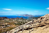 View from the volcano towards Vulcano and Lipari, Vulcano, Aeolian Islands, Sicily, Italy, Europe, Europe
