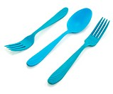 Two blue forkes and spoon isolated on a white background