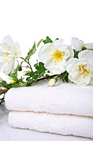 bath towels with rose on white background