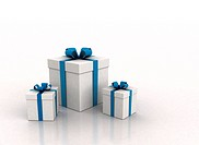 Gift boxes with blue ribbon