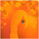 Face vector beauties on the background with yellow leaves.
