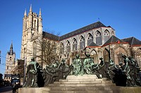 Hubert and Jan van Eyck monument, Sint Baafskathedraal or Saint Bavo Cathedral, in the back left the Belfry, old town, Ghent, East Flanders, Belgium, ...