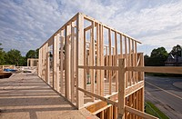 Upper story framing for a house under construction