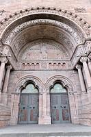 Main entrance, Erloeserkirche church, start of construction in 1903, Bad Homburg v. d. Hoehe, Hesse, Germany, Europe
