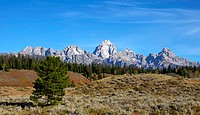 Grand Tetons mountain range in Wyoming near yellow stone