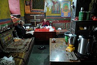 Monks in the monastery kitchen, Drepung Monastery, Lhasa, Tibet, China, Asia