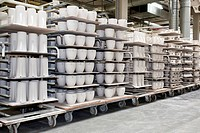 Transport of raw materials for the cleaners, coffee pots from Versace, in the production of tableware at the porcelain manufacturer Rosenthal GmbH, Sp...