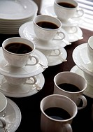 Fancy coffee cups filled with hot coffee