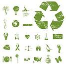 Grunge eco icons isolated on a white background