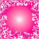 Abstract frame with hearts on a pink background
