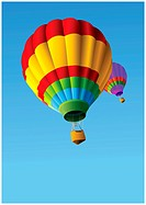 Colorful Hot Air Balloons in Flight Background