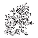 Black floral ornament isolated on white background. Vector illustration