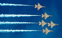 F-16 Fighting Falcon aircraft with the Thunderbirds, the U S  Air Force aerial demonstration team, perform during the 2011 Legacy of Liberty Air Show ...